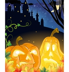 Jack o lanterns near the haunted castle vector