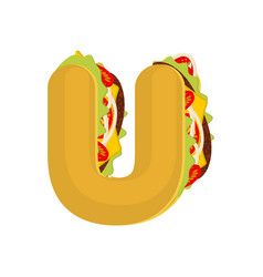 letter u tacos mexican fast food font taco vector image vector image