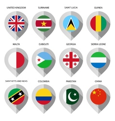Marker from paper with flag for map - set fourth vector image vector image