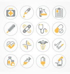 medical icons in yellow vector image vector image