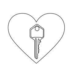 Monochrome contour with heart frame with key vector