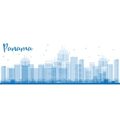 Outline panama city skyline with blue skyscrapers vector