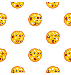 Pizza with mushrooms salami and olives pattern vector