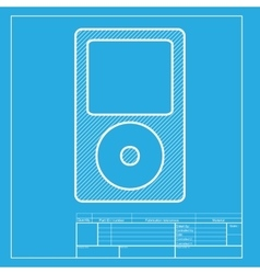 Portable music device white section of icon on vector