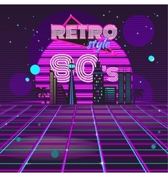 Retro style 80s disco design neon vector