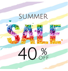 Sale poster with butterfly vector