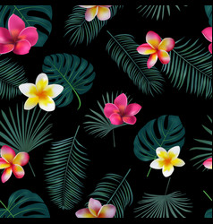 Seamless hand drawn tropical pattern with orchid vector