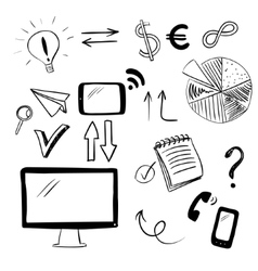 Set with business and web doodles vector image