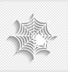 Spider on web white icon vector