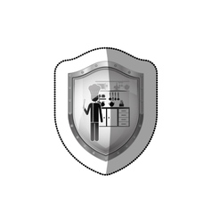 Sticker shield with chef in the kitchen vector