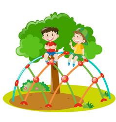 Two boys climbing on climbing station vector
