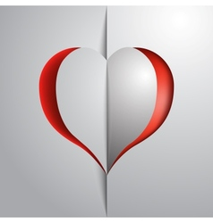 Valentines day red heart greeting paper card vector image vector image