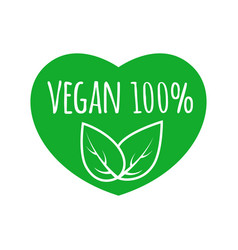 vegan food sign with leaves in heart shape design vector image vector image