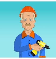 working with a drill vector image vector image