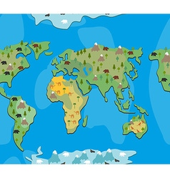 World map with animals and trees seamless pattern vector