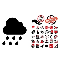 Rain cloud flat icon with bonus vector