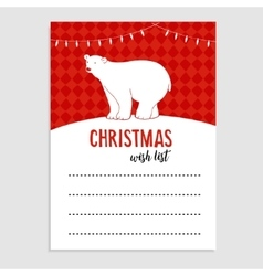 Cute Christmas greeting card wish list Polar vector image