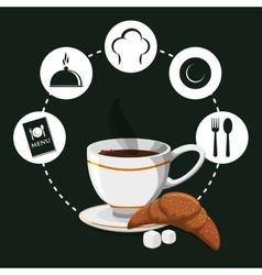 Breakfast hot coffee croissant sugar badge green vector