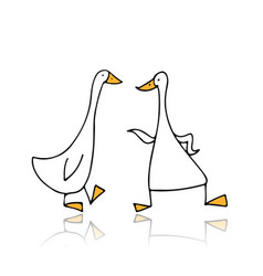 Funny gooses sketch for your design vector
