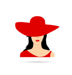 Woman head with red hat fashion vector
