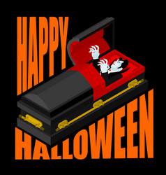 Happy halloween dracula in open coffin for vector