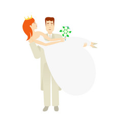 Groom carrying bride holding in his arms vector