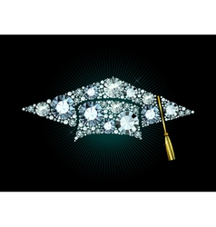 Diamond mortar board vector