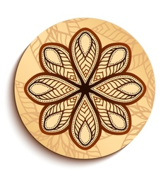Ethnic wooden plate isolated on white vector