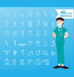 40 icons medical and healthcare for infographic vector
