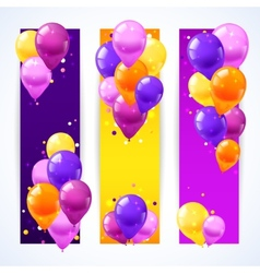 Colorful balloons banners vertical vector