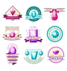 Jewel emblems set vector