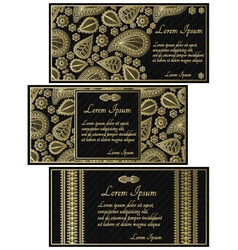 Set of black invitation cards with golden paisley vector