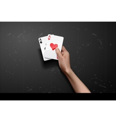 Hand with poker cards vector
