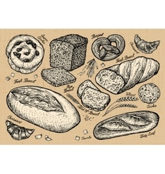 Bread bakery hand drawn sketches of food vector