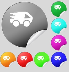 Car Icon sign Set of eight multi colored round vector image vector image