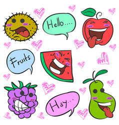 Cartoon fruit charater doodle style vector