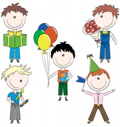 cheerfull kids make happy birt vector image