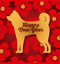 chinese happy new year of the dog red flowers vector image vector image