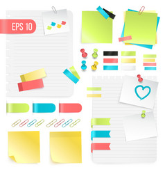 Colorful paper notes set vector