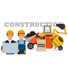 Construction workers machinery wheelbarrow mixer vector