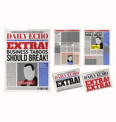Daily newspaper template tabloid layout vector