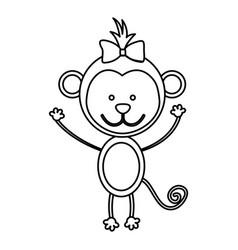 figure teddy monkey bow head vector image vector image