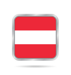 flag of austria shiny metallic gray square button vector image vector image