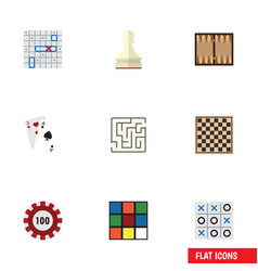 Flat icon entertainment set of pawn dice chess vector