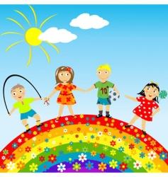 floral rainbow vector image