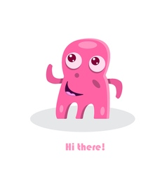 Greeting text with funny monster vector