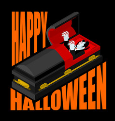 happy halloween dracula in open coffin for vector image