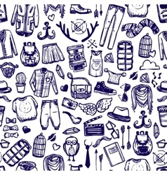 Hipster fashion clothing doodle seamless pattern vector image