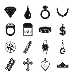 Jewelry items icons set simple style vector