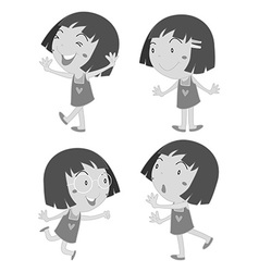 Little girl in different poses vector